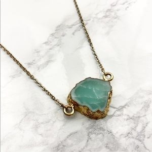 New Turquoise Stone Gold Dainty Pendant Necklace
